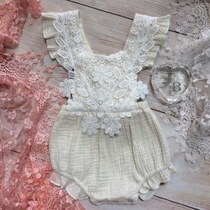 Other - Boutique Baby Girls Antique White Lace Romper